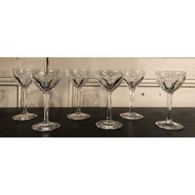 Suite De 6 Verres à Vin En Cristal Modèle Bristol De Saint Louis
