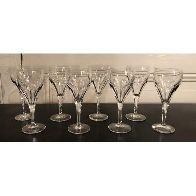 Suite De 8 Verres à Vin En Cristal Modèle Bristol De Saint Louis