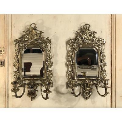 Pair Of Louis XIV Napoleon III Style Mirror Sconces