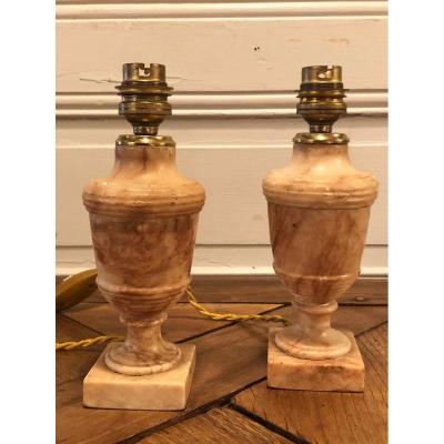 Paire De Vases Balustre Lampe En Marbre XIX° Siècle