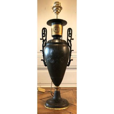 Large Cassolette Vase Neoclassical Lamp XIXth Century