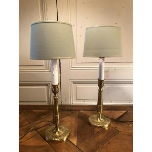 Paire De Bougeoirs Lampes Aux Armes De France En Bronze XIX° Siècle