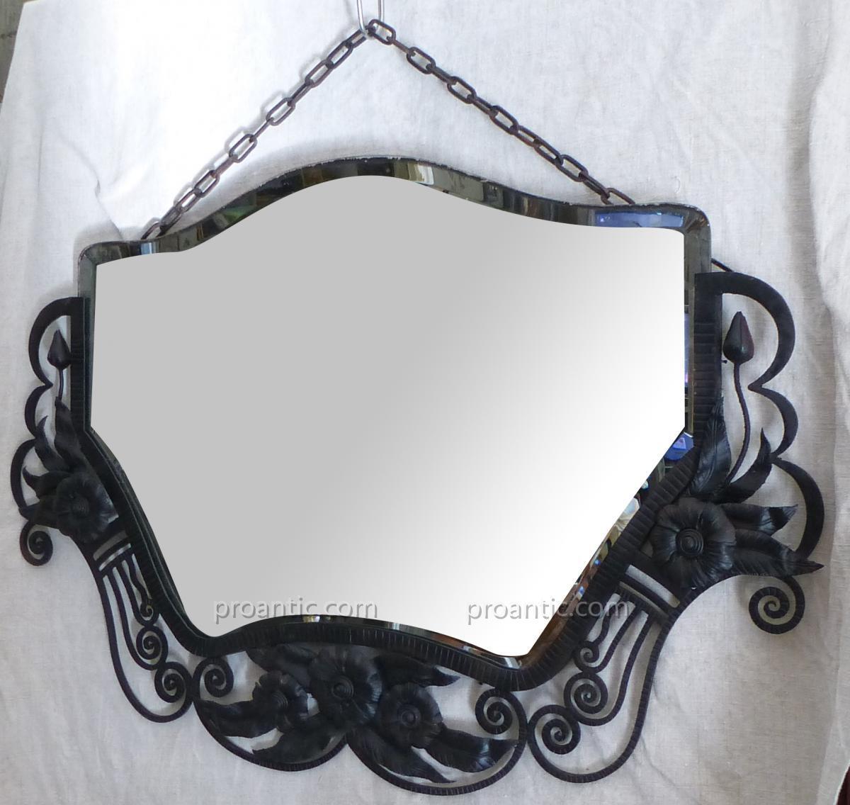 Miroir Biseauté époque Art Déco Fer Forgé