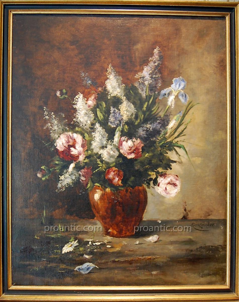 """Huile Sur Toile """"bouquet Printanier"""" Marcel J. Gingembre d'Aubépine"""