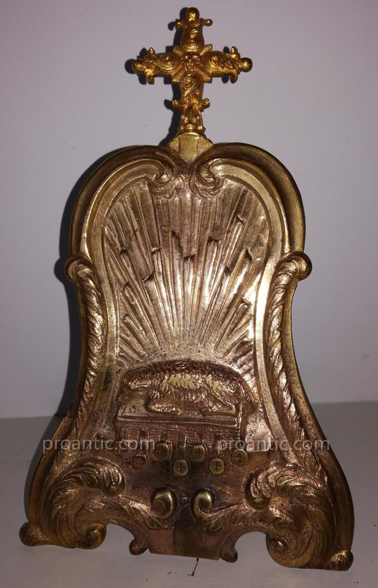 Baiser De Paix En Bronze Doré Décor d'Agnus Dei