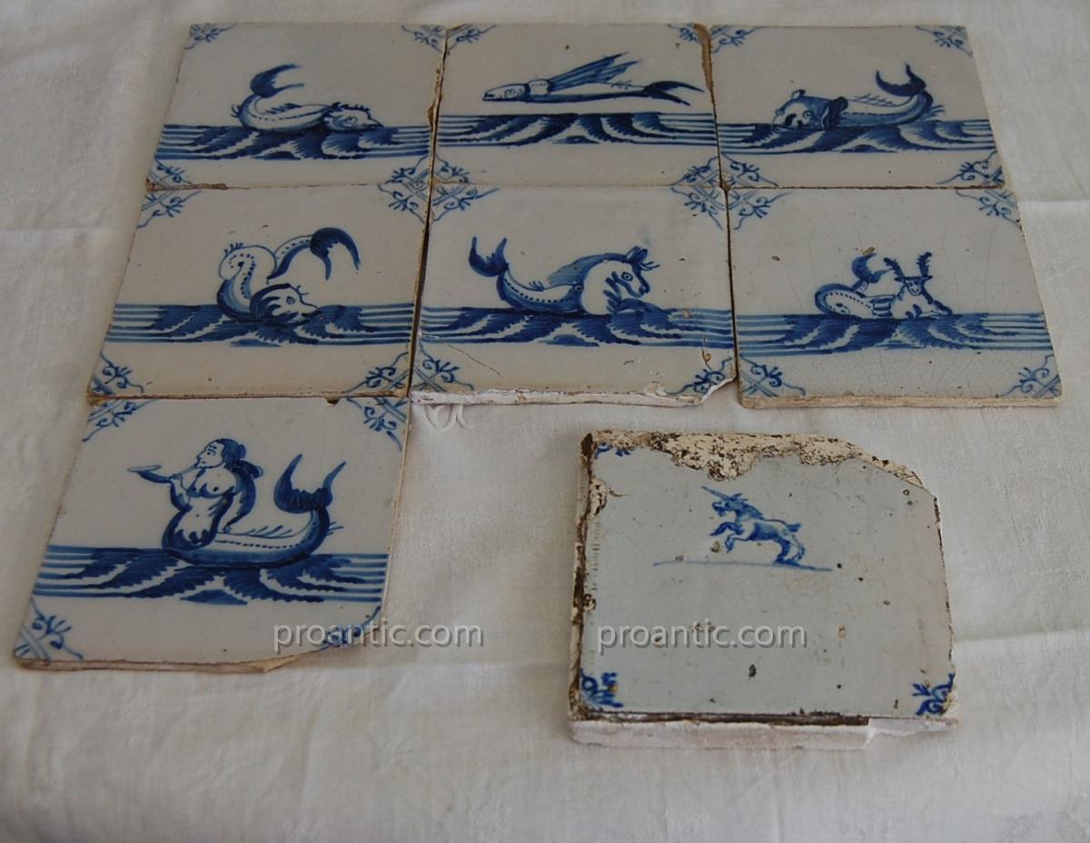 carreaux faience Delft XVIII° animaux fantastiques licorne, poisson volant..