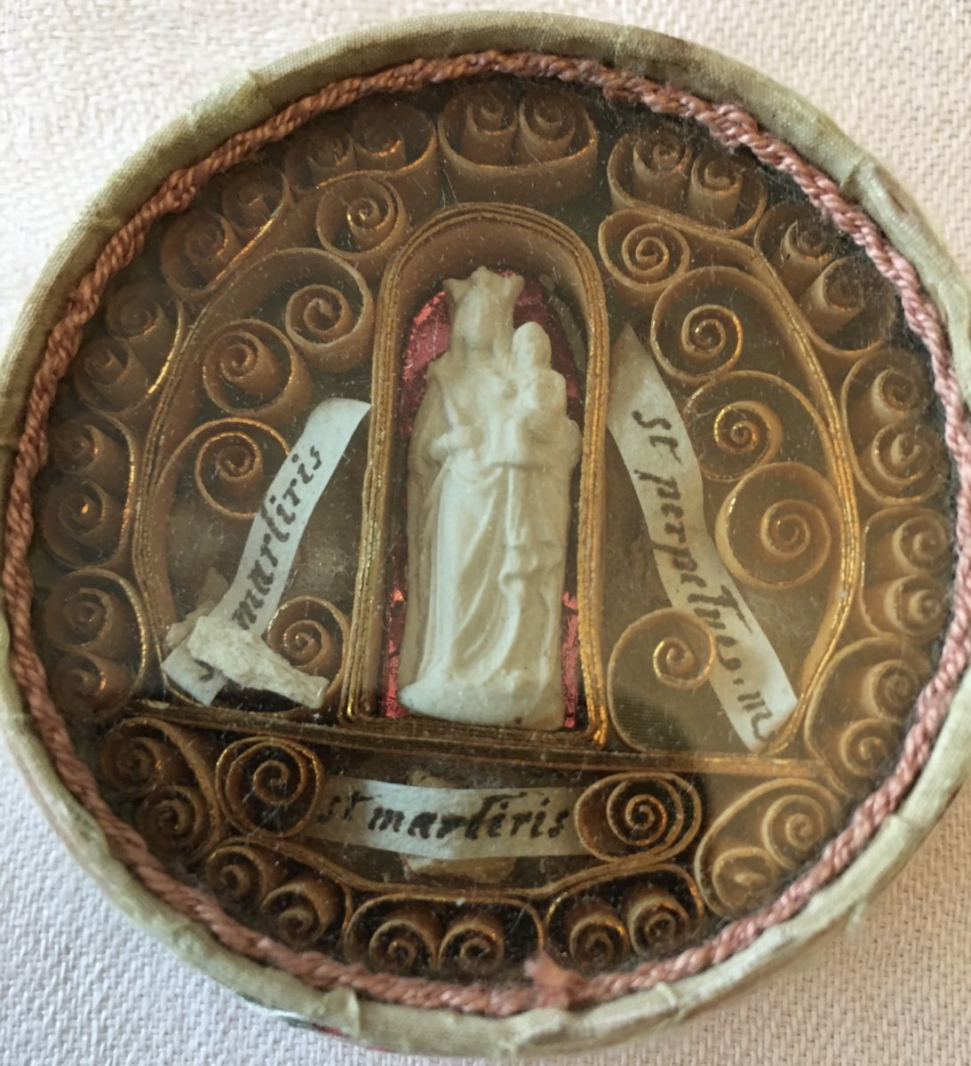 Reliquary Virgin And Child Silk Box Three Paperolles Relics