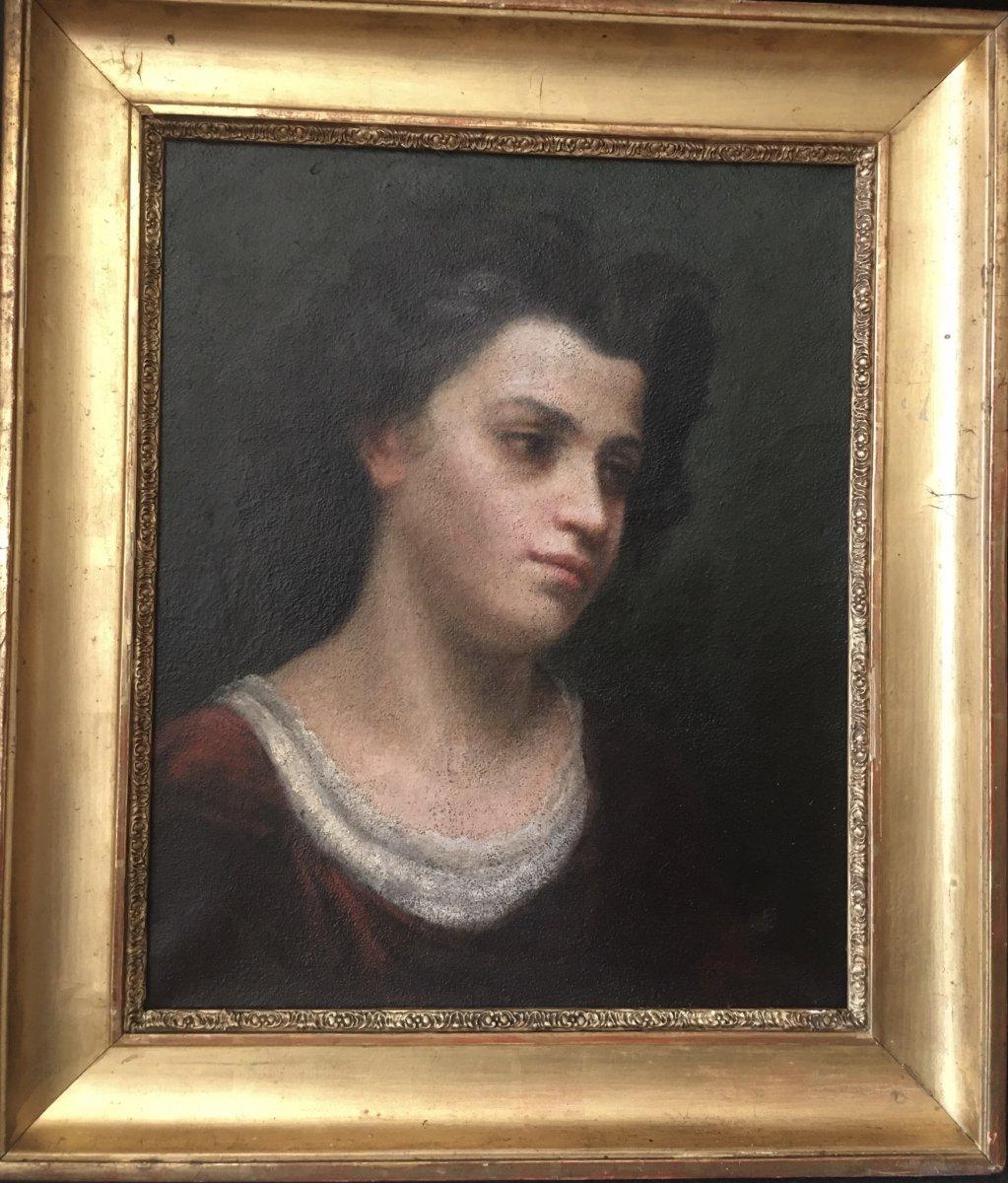 Huile Sur Toile «portrait De Jeune Fille» XIX Annoté à L'arrière Marie Cour...