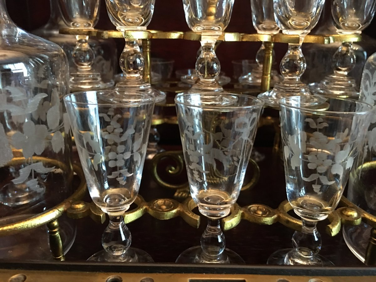 Napoleon III Liquor Cell Bevelled Glass Crystal Engraved Glassware-photo-1
