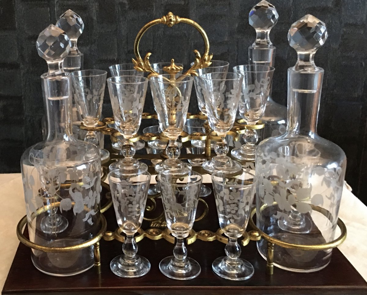 Napoleon III Liquor Cell Bevelled Glass Crystal Engraved Glassware-photo-2