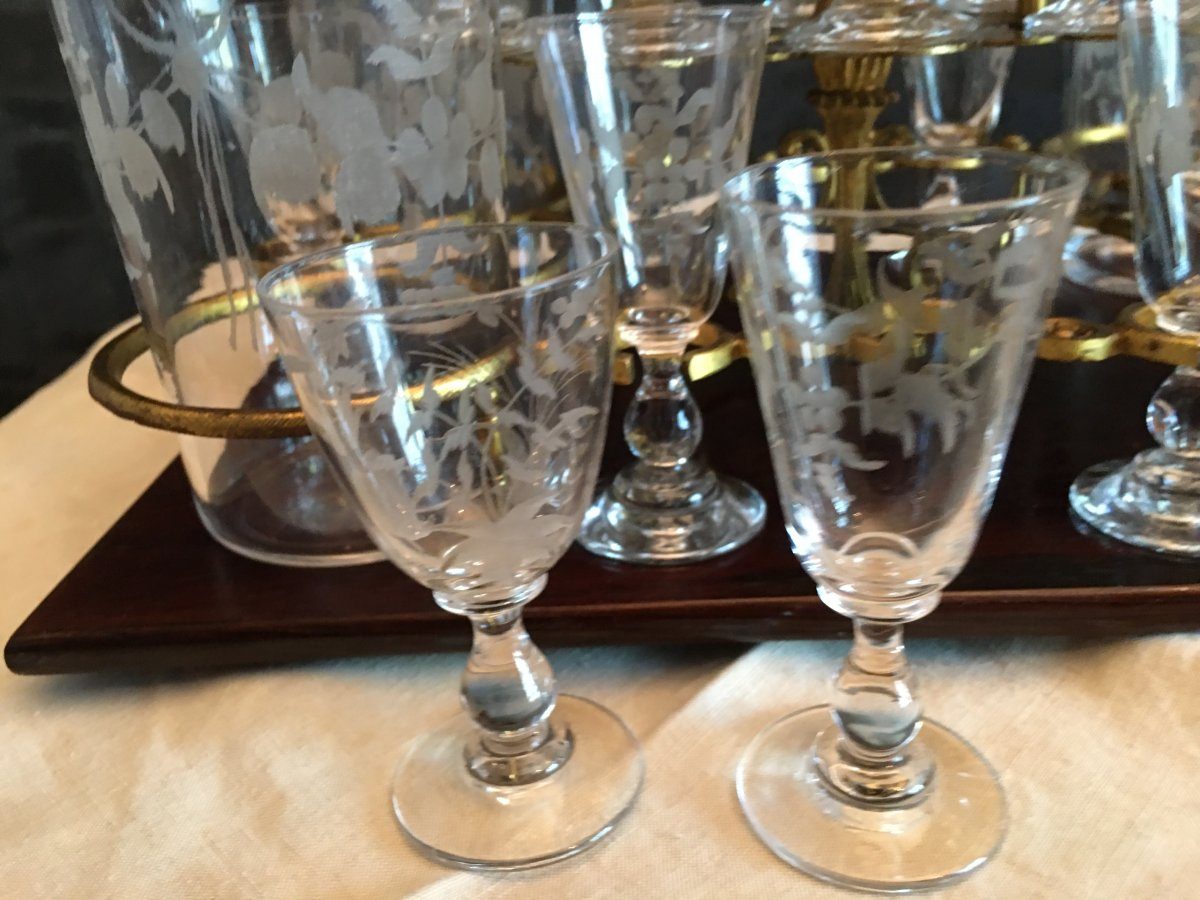 Napoleon III Liquor Cell Bevelled Glass Crystal Engraved Glassware-photo-3