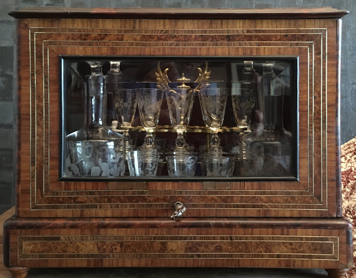 Napoleon III Liquor Cell Bevelled Glass Crystal Engraved Glassware