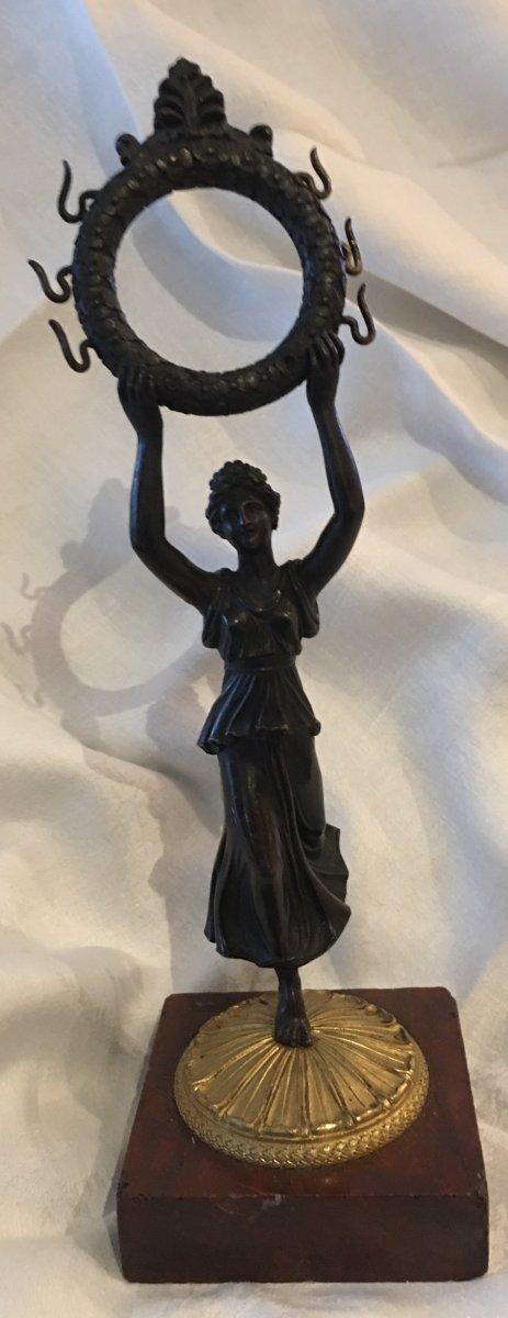 Porte Montre En Bronze Deux Patines  Jeune Femme à L'antique