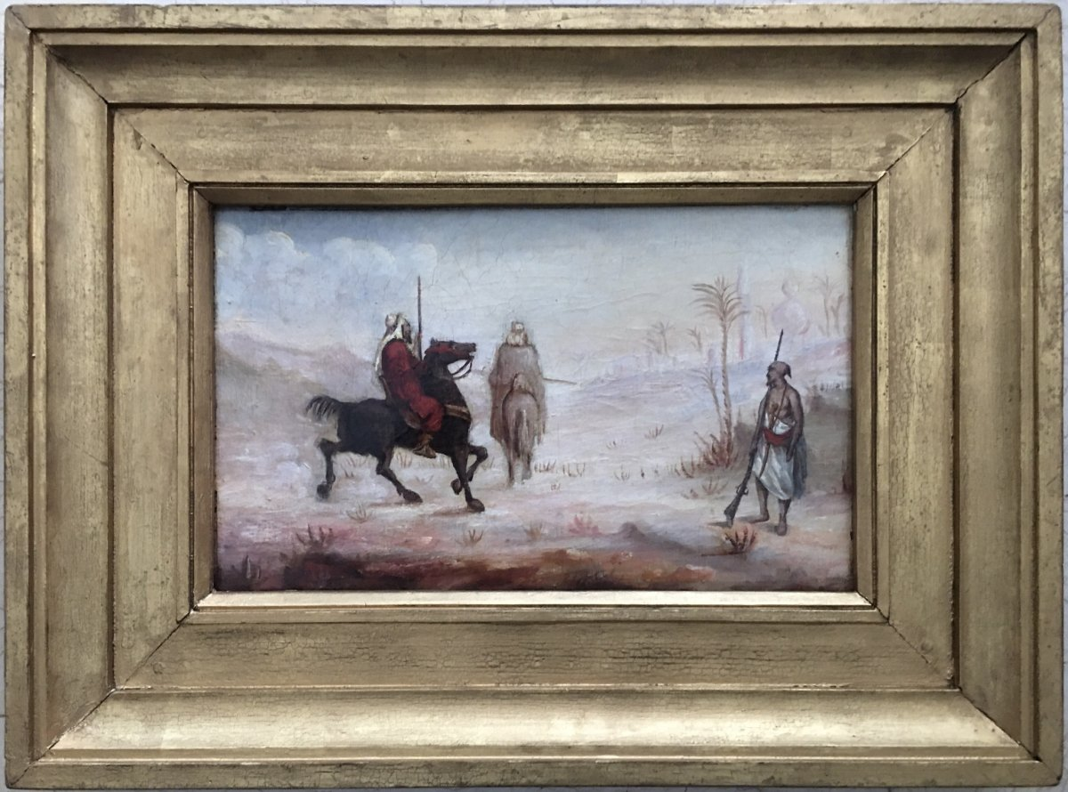 """Oil On Canvas Orientalist Study Horsemen And Soldier In The Desert """"towards The Palm Grove"""""""
