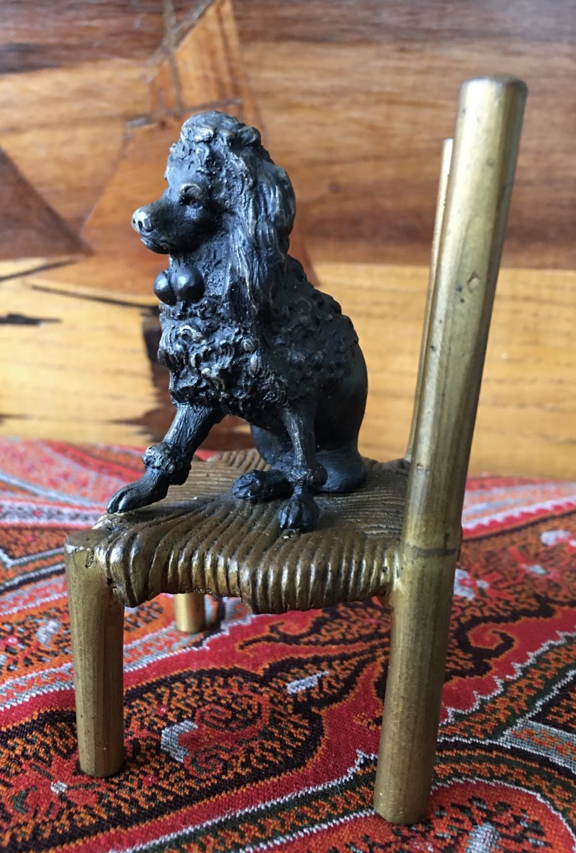 """poodle On His Chair"" Nuremberg Lead And Bronze"