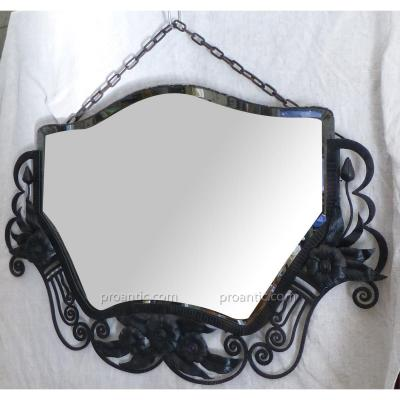 Beveled Mirror Art Deco Wrought Iron
