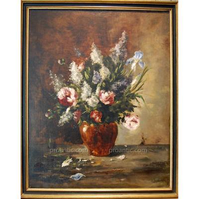 "Oil On Canvas ""bouquet Printanier"" Marcel J. Ginger Of Aubépine"