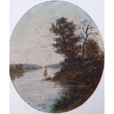 « Le Bateau Sur Le Lac» Huile Sur Panneau Signée Eichter Datée 1935