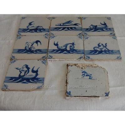 Faience Tiles Delft Eighteenth Fantastic Animals Unicorn, Flying Fish ..