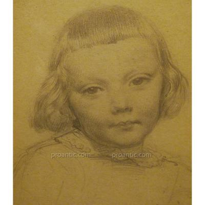 """""""little Girl"""" Pencil Drawing Early Nineteenth Annotated Vien Jm"""