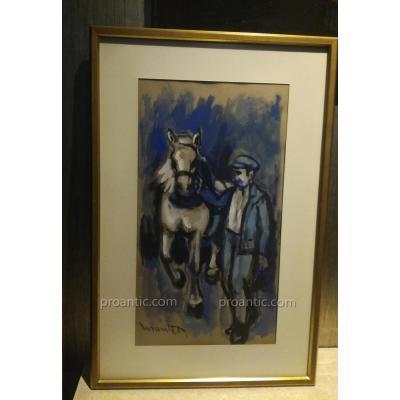 Montet Maurice, « Cheval et Meneur De Calèche», Gouache Sur Papier.