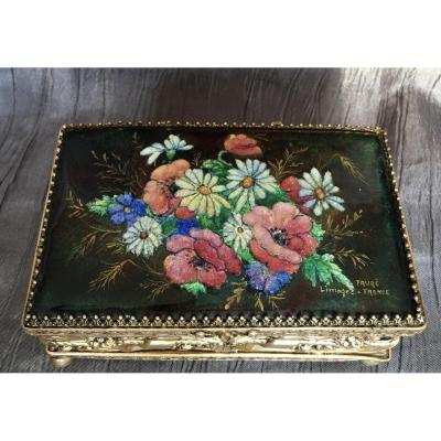 Fauré Camille Enamels Limoges Rectangular Box With Flower Decor