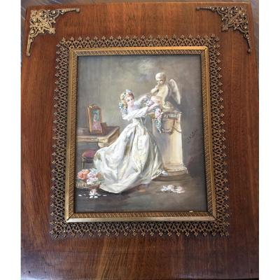 "Miniature On Ivory ""offering To Love"" Signed"
