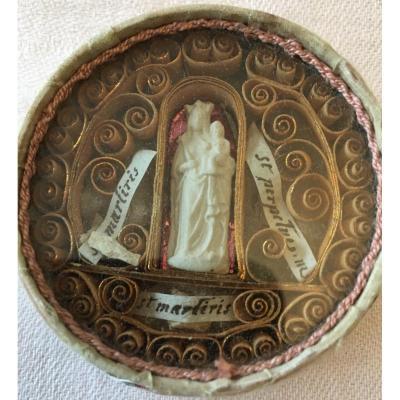 Reliquaire Boîte Soie Vierge à L'enfant Trois Reliques Paperolles