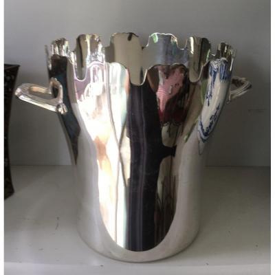 Silver Metal Champagne Bucket Glass Shape