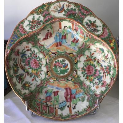 Canton Chine Porcelaine Polychrome  Coupe Polylobée
