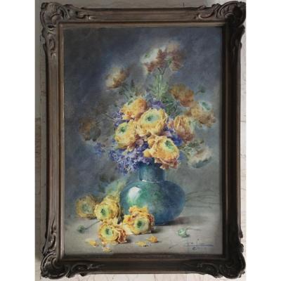 Aquarelle Signée De Charles Seitte XIX/xxeme «renoncules Dans Un Vase Bleu»