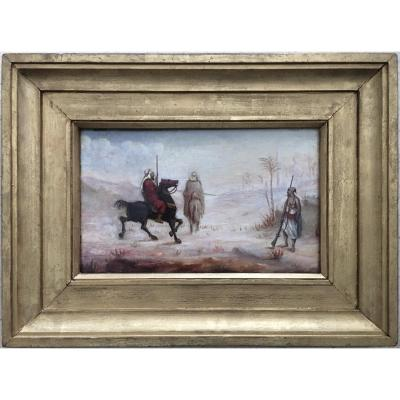 "Oil On Canvas Orientalist Study Horsemen And Soldier In The Desert ""towards The Palm Grove"""