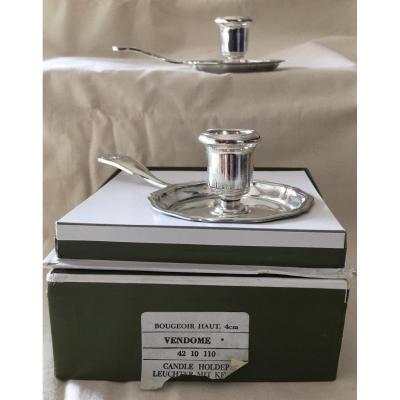 Pair Of Christofle Hand Candlesticks Vendôme Model