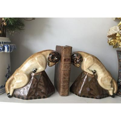 Tharaud Béliers Pair Of Limoges Porcelain Bookends