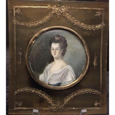 Miniature On Ivory In An Engraved And Gilded Horn Frame