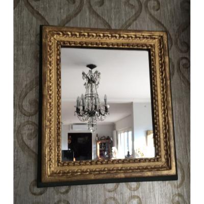 Miroir Bois Doré Sur Fond Vert De Style Louis XVI