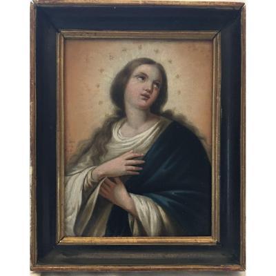 Peinture Sur Métal «Vierge En Extase» XIXe Siècle