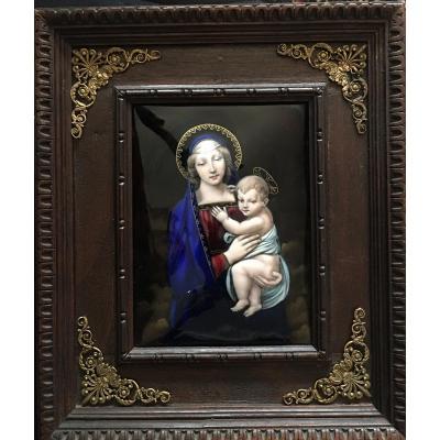 «vierge à L'enfant» Email Sur Cuivre XIXeme