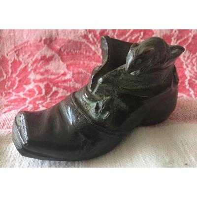 """Bronze Sculpture Signed Mirval """"shoe And Two Little Mice"""""""