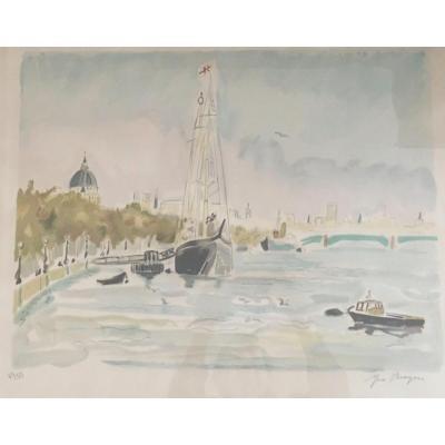 Lithographie D'yves Brayer Signée Au Crayon Numérotée «voilier Sur Le Fleuve»