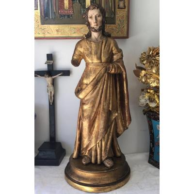 Sculpture Christ En Bois Doré Fin Du XVIIIeme Siècle  46 Cm Avec Socle