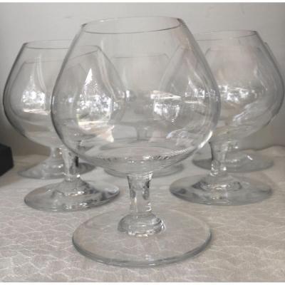 Six Verres à Alcool, Cognac En Cristal De Baccarat