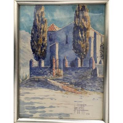 Aquarelle Noël Pichot école Lyonnaise 1931 «la Chapelle Aux Cyprès»