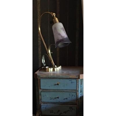 Bronze And Marmorean Glass Desk Lamp