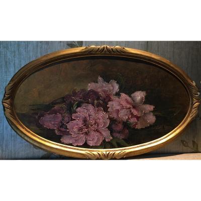 «Bouquet De Roses» école Lyonnaise Émilie Charly Huile Sur Carton
