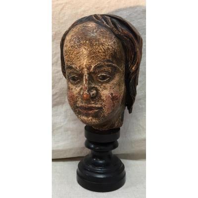 Tête De Saint De Procession En Bois Sculpté Polychrome XVIIeme Sciecle