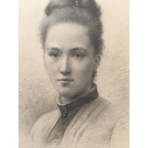 Dessin D'une Jeune Femme Daté 1888 Et Signé, Encadré Cadre à Gorges