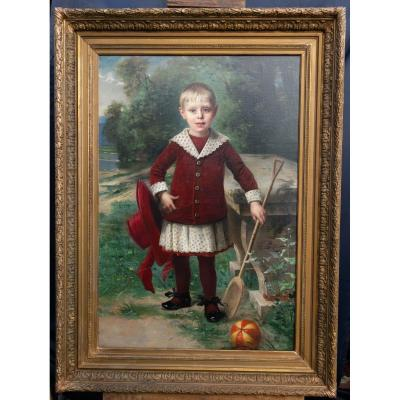 Child, Oil On Canvas By Edmond Louis Dupain