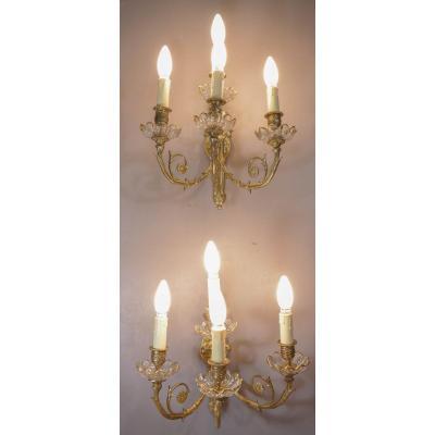 Paire d'Appliques à 4 Lumières En Bronze Et Cristal Baccarat
