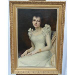Portrait d'Une Jeune Femme, Huile Sur Toile Par Jules Victor Verdier